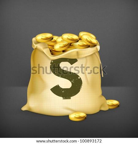 Bag of gold, vector - stock vector
