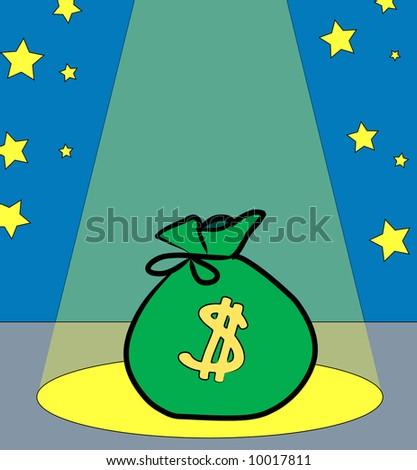 bag of money performing in the spotlight - vector - stock vector
