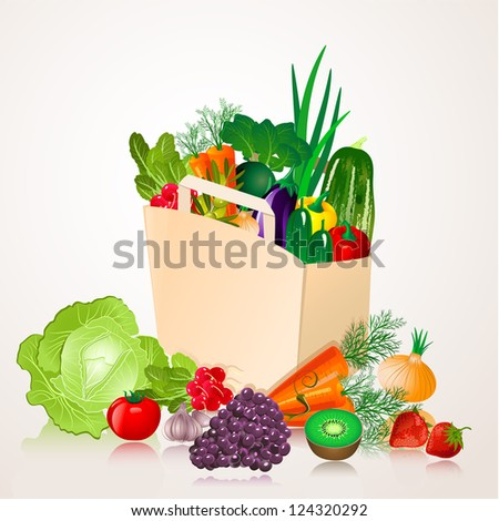 bag of vegetables - stock vector