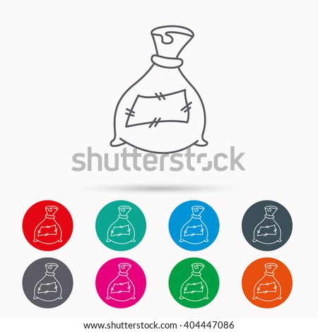 Bag with fertilizer icon. Fertilization sack sign. Farming or agriculture symbol. Linear icons in circles on white background. - stock vector