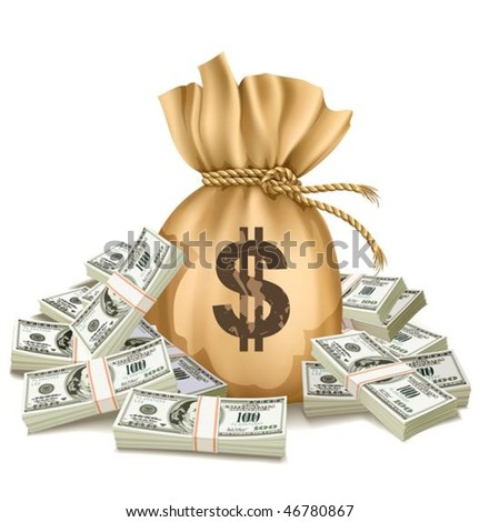 bag with packs of dollars money - vector illustration, isolated on white background - stock vector