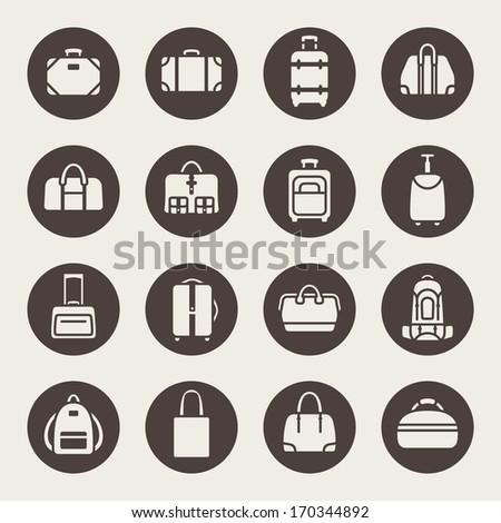Baggage icon set - stock vector