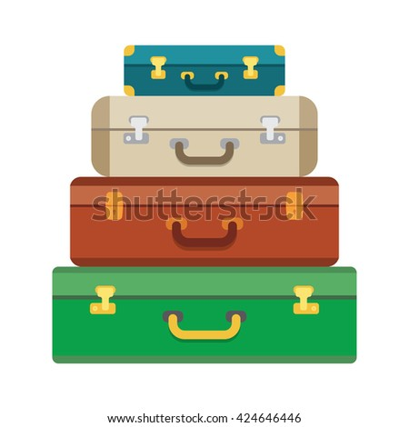 Baggage luggage suitcases on background. Flat style vector illustration. - stock vector