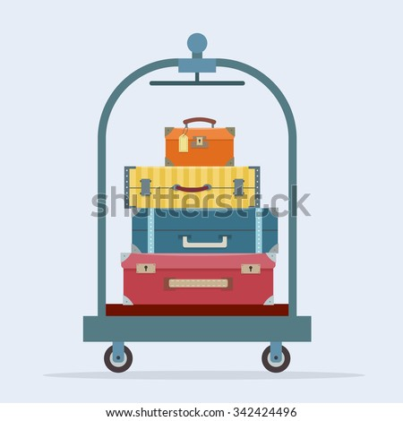 Baggage, luggage, suitcases  on trolley. Flat style vector illustration. - stock vector