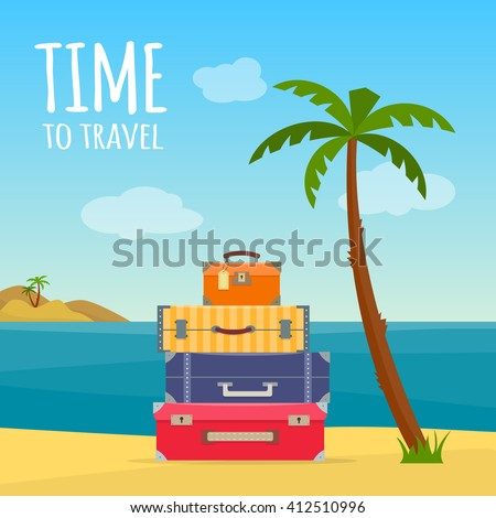 Baggage, luggage, suitcases with travel icons and objects on tropical background. Flat style vector illustration. - stock vector