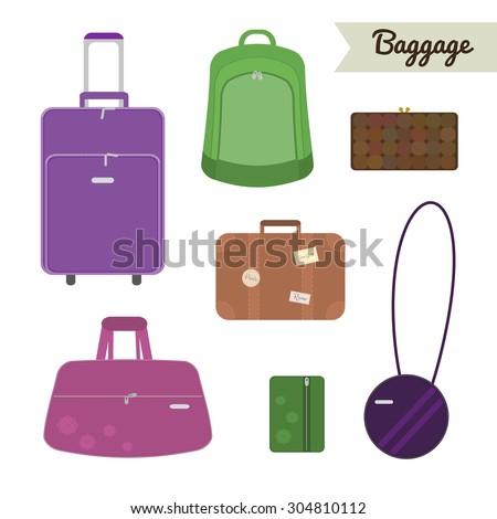 Baggage set. Travel bag, backpack, clutch, case, suitcase, handbag, valise, purse. Flat style elements. - stock vector