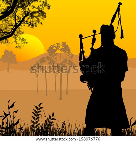 Bagpiper silhouette on beautiful sunset, vector illustration - stock vector