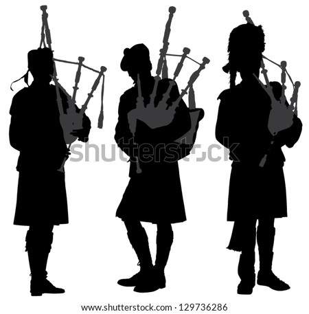 Bagpiper Silhouette on white background - stock vector