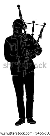 Bagpiper Silhouette on white background. Street perform. - stock vector