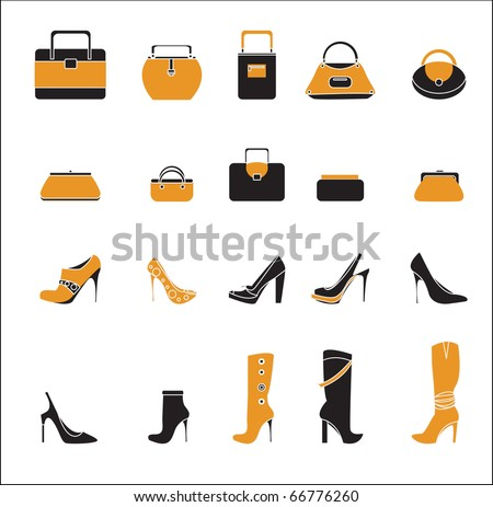 Bags and boots icons - stock vector