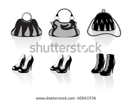 Bags and shoes - stock vector