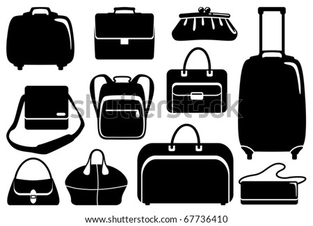Bags and suitcases icons set - stock vector