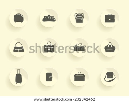 Bags and suitcases stickers - stock vector