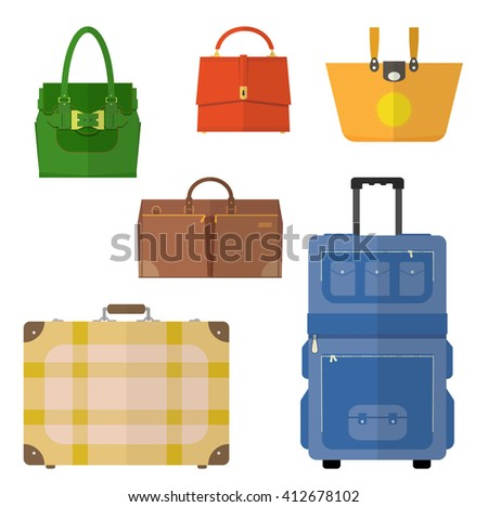 Bags, ladies handbag, suitcase isolated flat design icons vector set