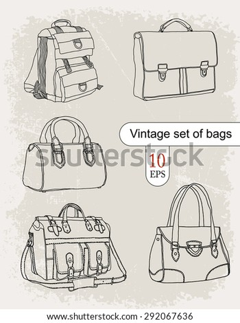 bags. vintage set - stock vector