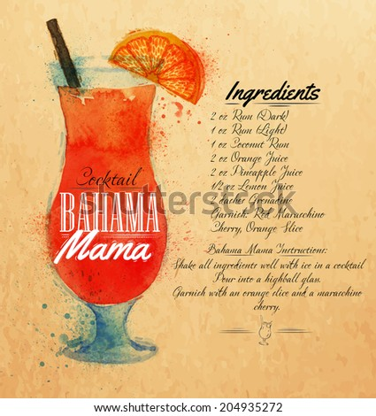 Bahama mama cocktails drawn watercolor blots and stains with a spray, including recipes and ingredients on the background of kraft - stock vector