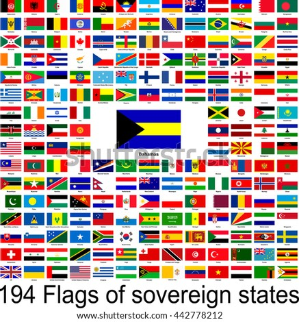Bahamas, collection of vector images of flags of the world