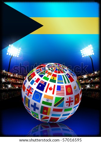Bahamas Flag with Globe on Stadium Background Original Illustration