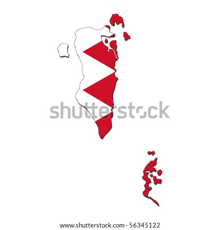 Bahrain Map Vector Bahrain Map Flag With Shadow