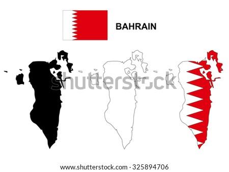Bahrain map vector, Bahrain flag vector, isolated Bahrain - stock vector