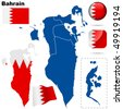 Bahrain vector set. Detailed country shape with region borders, flags and icons isolated on white background. - stock vector
