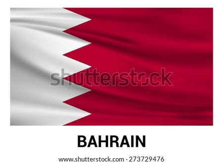 Bahrain Waving flag isolated vector in official colors and Proportion Correctly. waving wind Flag realistic fabric effect. country's name label in bottom - stock vector