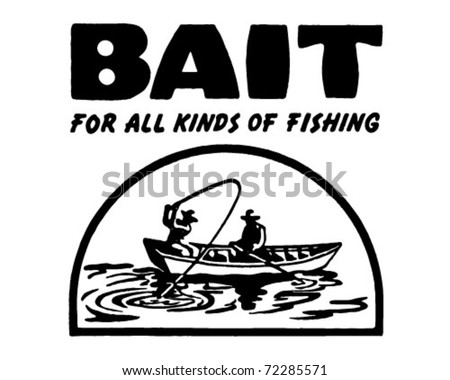 Bait 2 - For All Kinds Of Fishing - Retro Ad Art Banner - stock vector