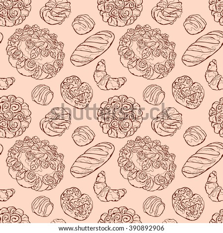 Bake bakery. Baking. Bakery products. Pastry. Baton, croissants, pretzel, bun, bread, cheesecake, cookies, cake, berry pie, shred-pie. Vector seamless pattern (background).