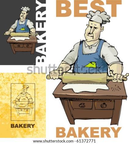 baker, handmade based illustration. - stock vector