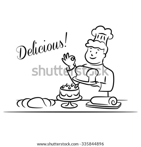 Baker Holding Bread with Several Cakes and Breads on Table, Cartoon Style, Vector Illustration, Isolated, Black and White - stock vector
