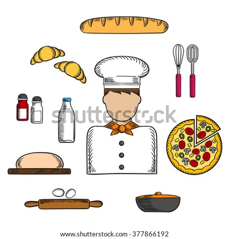 Baker profession icons with man in toque, pizza and baguette, croissant and milk, eggs and dough, chopping board and cutlery, salt, pepper and pot - stock vector