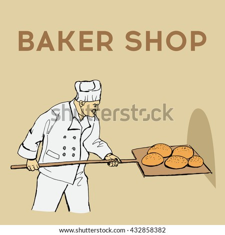 Baker shop. Hand drawn vector stock illustration. Colorful image - stock vector