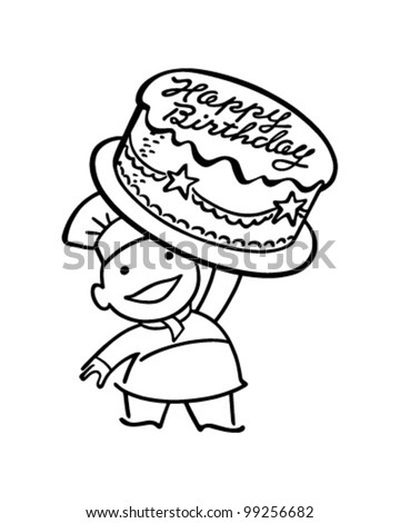 Baker With Birthday Cake - Retro Clipart Illustration - stock vector