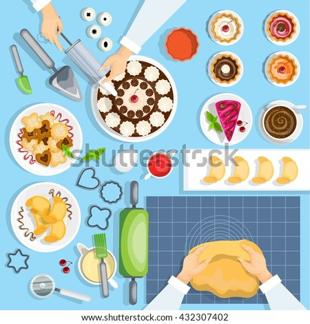 Baker Workplace Top View Set. Confectionery Vector Illustration. Pastry Cartoon Symbols. Baker Workplace Design Set.  Bakery Isolated Set. - stock vector