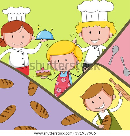 Bakers and chef in uniform illustration - stock vector