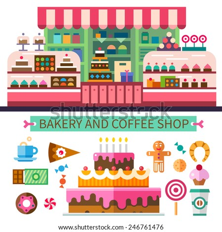 Bakery and coffee shop. Cafe interior. Cakes, candy, cookies, sweets, coffee. Vector flat illustrations - stock vector