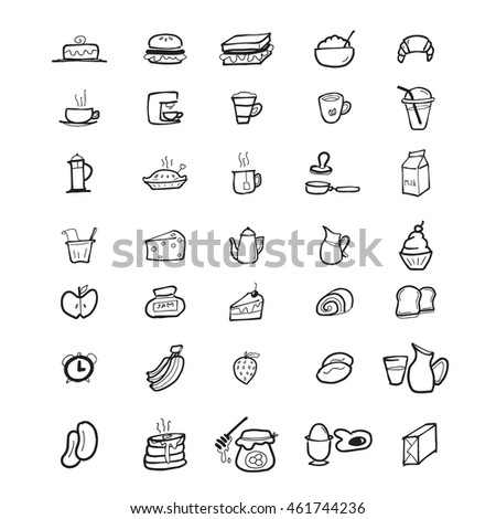 Bakery and food icons set
