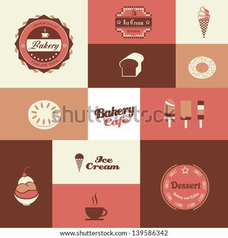 bakery and ice cream shop retro background - stock vector