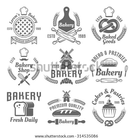Bakery and pastries set of vector monochrome labels, badges, emblems isolated on white background - stock vector