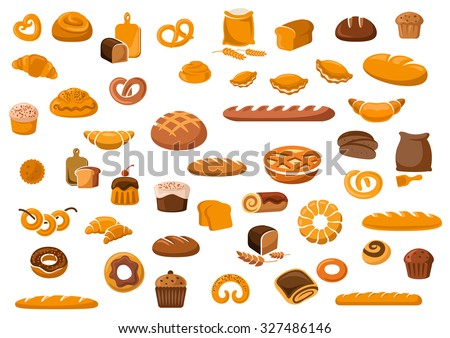 Bakery and pastry products icons set with various sorts of bread, sweet buns, cupcakes, dough and cakes for bakery shop or food design - stock vector