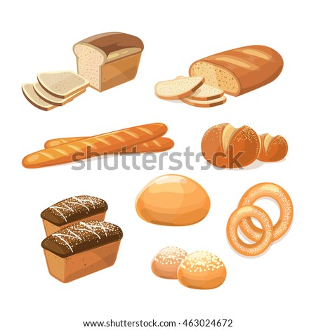 Bakery and pastry products various sorts of bread vector icons