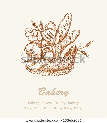 Bakery background. Card with different kind bread in a basket - stock vector