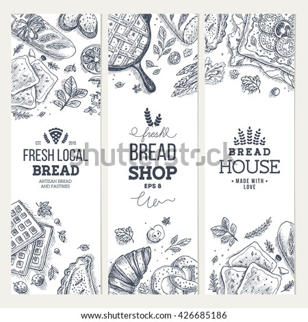Bakery background. Linear graphic. Bread banner collection. Vertical banner set. Bread and pastry collection. Bread house. Engraved top view illustration. Flat lay. Vector illustration - stock vector