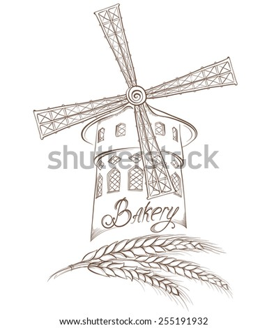 Bakery background. Vector hand drawn illustration of a mill isolated on a white. Labels or pack for bread and bakery. - stock vector