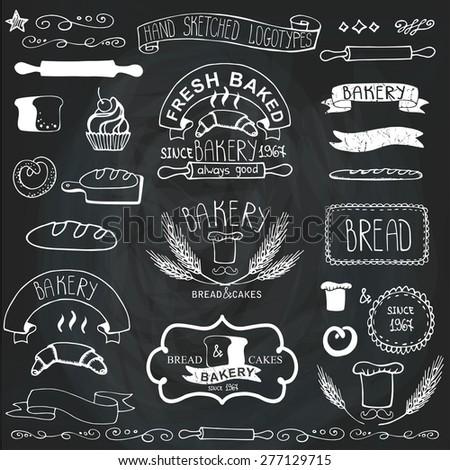 Bakery BadgesLabelslogosVintage Retro Outline Hand Sketched Doodles And Design Elements