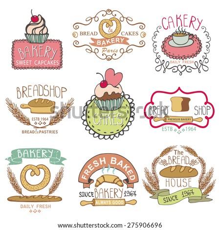 Bakery Badges,logos.Vintage Retro  hand sketched Labels,doodles design elements (bread, loaf, wheat ear, cake icons). Vector logotype,doodle cake,baked shop. - stock vector