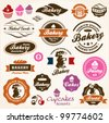 Bakery Bread Pastry badges and labels retro vintage vector set. Cook Chef. - stock vector
