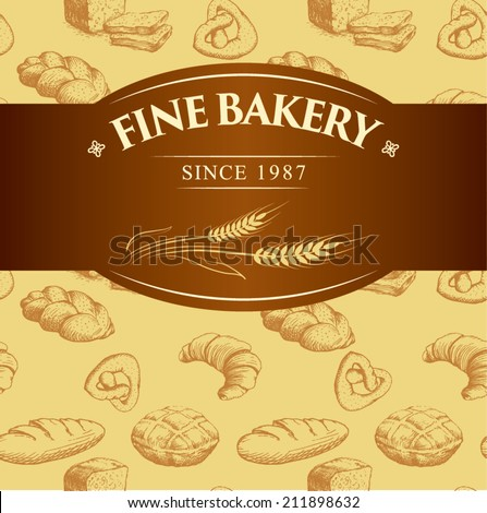 bakery bread.  seamless background pattern. labels pack for bread, baguette, loaf, cake, baked, croissant,bun. bread,  bakery shop,  cake,  bakery logo,  baking,  pastry,  cupcake,  bakery products - stock vector