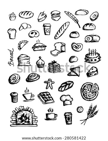 Bakery collection, sketch for your design. Vector illustration