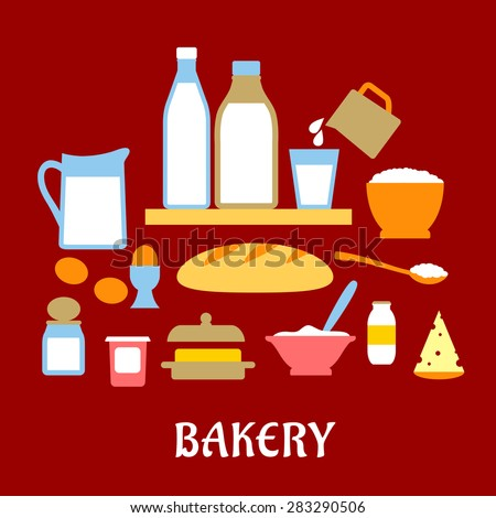 Bakery concept with dough ingredients including containers of butter,salt, sugar milk, eggs, and cheese around a loaf of white bread - stock vector